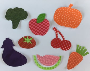 Iron on Applique set farmers market theme iron on fruit iron on vegetable iron on appliques for baby shower vegetable baby fruit baby