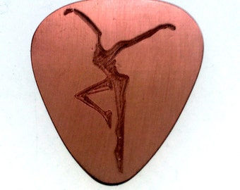 Personalized Guitar Pick - Engraved Copper Guitar Pick - Into Your Heart I'll Beat Again, Fire Dancer, Anniversary