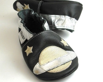 soft sole baby shoes leather infant gift space silver black 6-12m ebooba SC-15-B-T-2