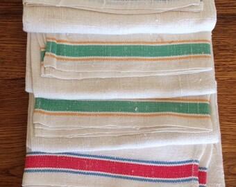 Vintage Striped Linen Kitchen Towels- Unused