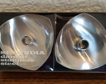 Vintage Selandia Danish Stainless Steel Tapered Candle Holders- New, Mid Cent Mod