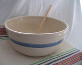 Vintage Large Hand Made Mixing/Bread Making Bowl, Rolled Rim, Country Kitchen Rustic Charm
