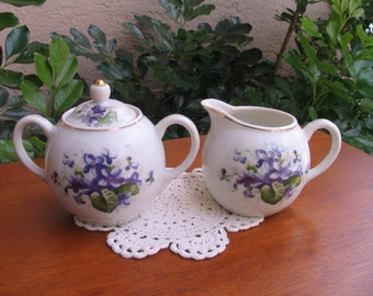 Vintage Napco Originals by Giftcraft GC  Creamer and Sugar Bowl with Top  Hand Painted Violets on Fine China