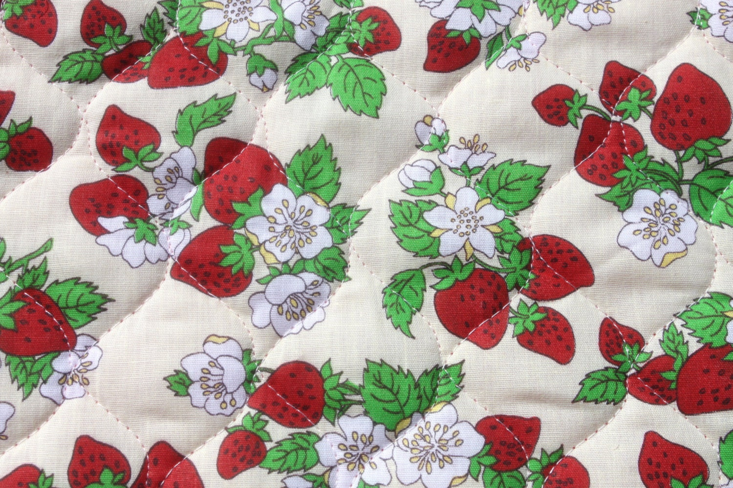 Vintage Double Sided Quilted Strawberry Fabric Pre Quilted