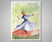Whirling Dervish Watercolor Painting by Faruk Koksal - Print on 290 gr. Textured Fine Art Paper / Christmas Gift