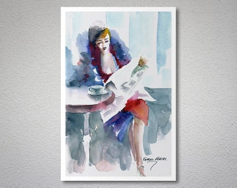 While Waiting Watercolor Painting by Faruk Koksal - Print on 290 gr  Textured Fine Art Paper