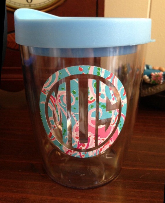 11oz Stemless Wine Glass Dressed In Lilly Pulitzer Inspired Or