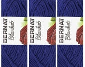 Lot of 3 Bernat Blanket Yarn in Navy Blue 150 Gram Skein New Bernat Yarn Color