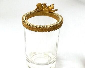 Cherub and Rhinestone Rimmed Glass Vanity / Bathroom Glass
