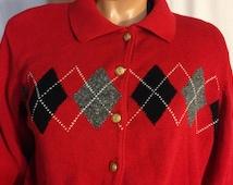Vintage 1980s LIZ CLAIBORNE/SPORT Red/Gray/Black Argyle Rockabilly Cardigan Button Down Sweater