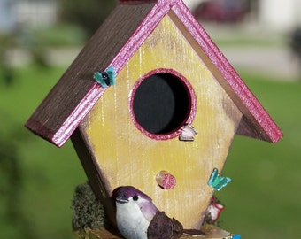 Decorative Birdhouse Wind Chime, Unique Painted Wood Birdhouse Wind-chime Home Decor, Part of Sales Proceeds Goes to Support Animal Charity