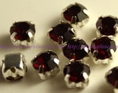 Sew on rhinestones Dark Red glass crystal in silver casing 4mm 5mm 6mm 7mm 8mm 10mm Dark Siam