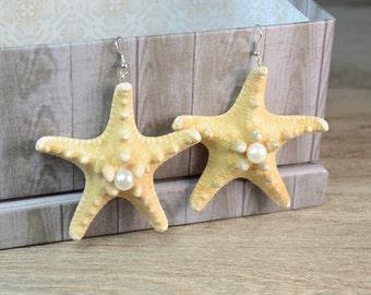 Real Starfish dangle earrings, Starfish jewelry, Hawaiian sea shell Earrings, Mermaid Beach Earrings, nautical jewelry, beach boho wedding