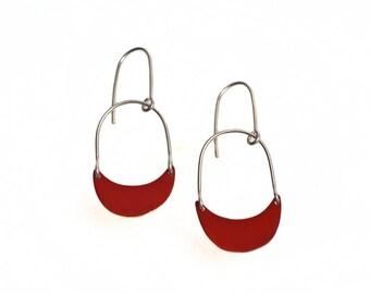 Long Red Earrings, Red Dangle Earrings, Fashion Jewelry, Art Inspired Jewelry, Gifts for Her, Statement Jewelry, Drop Earrings