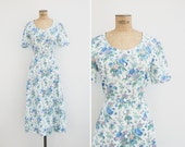 1990s Dress - Vintage 90s Floral Cacharel Dress - White Cotton Button Up Dress