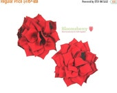 "Halloween SALE 12% OFF 3"" Kanzashi Flowers - Red Color - Red Kanzashi Flowers - Red Flowers - Fall/Christmas - Red Fabric Flwoers -Hair Acce"