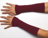 Long mittens 25 cm Arm warmers light hand warmer dark red jersey cotton