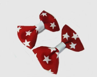 Christmas Hair Bows, Red and White Stars Hair Bows, Girls Hairbows, Holiday Hair Bows,