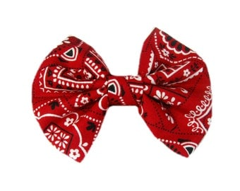 Red Bandana Hair Bows, Country Hair Bow, Fabric Hair Bow, Bandana Bow, Girls Hair Accessories, Cowgirl, Hair Clip, Hairbow