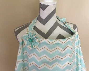 Mint chevron Nursing Cover - mint and gold chevron breastfeeding cover hooter hider with a fabric flower clippie - Ready to ship
