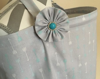 Nursing Cover - grey and blue arrows print nursing cover with a fabric flower clippie - Ready to ship