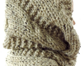 Chunky infinity scarf,  oatmeal infinity scarf, knitted scarf, oversized cowl