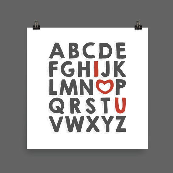 I LOVE YOU (Charcoal & Red) Alphabet Poster Print - Nursery, Kids Room, Wall Art Modern