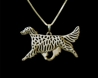 English Setter movement - Gold pendant and necklace