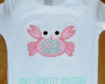 Toddler/ Infant Crab Appliqued Onepiece/Tshirt