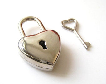 Silver Tone Heart Lock and Heart Key Set - 1pc