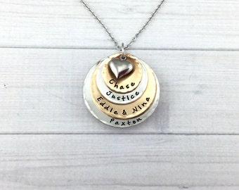 Four Layer • Mixed Metal • Bronze & Pewter • Mommy Name Necklace • Hand Stamped • Personalized