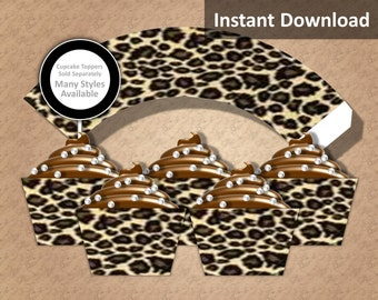Leopard Print Cupcake Wrappers, Jungle Safari Party Decorations, Animal Print, Rock Star, instant Download