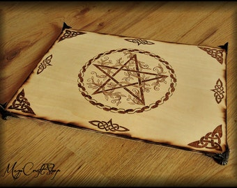 PENTACLE altar base with celtic knots and branches - handmade and pyrographed
