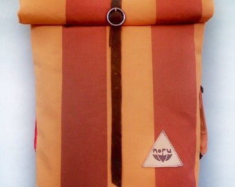 Striped backpack, cycling backpack, bike backpack, waterproof rolltop backpack, caramel, orange striped backpack. Handcrafted in Berlin