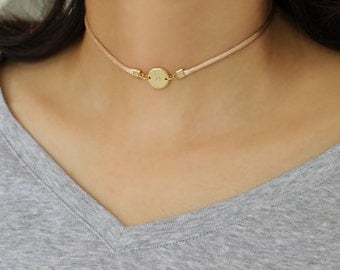 Initial Choker Necklace Personalized Choker Necklace Silver Gold Disc Charm Choker Satin Silk Cord Choker Necklace Mimimal Short Necklace