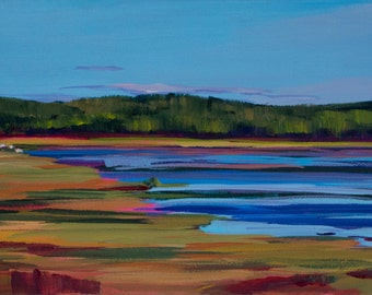 Maine Landscape Painting Compass Pond