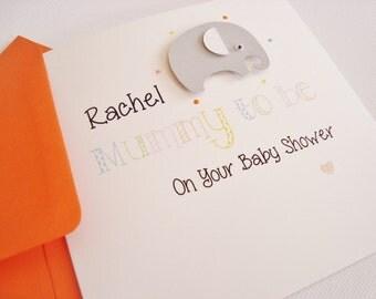 Handmade Personalised Elephant Baby Shower Mum to be Card
