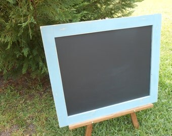 Rustic Chalkboard- Wedding Chalkboard -Coastal Decor Chalkboard - 28 x 24 Chalkboard -Blue Distressed Framed Chalkboard- Wedding Decor