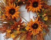 Fall wreath, fall door wreath, autumn wreath, sunflower wreath, fall decoration, autumn decoration, door wreath, sunflower door wreath