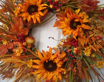 Fall wreath, autumn wreath, sunflower wreath, fall door wreath,  fall decoration, outdoor wreath, front door wreath, Thanksgiving wreath