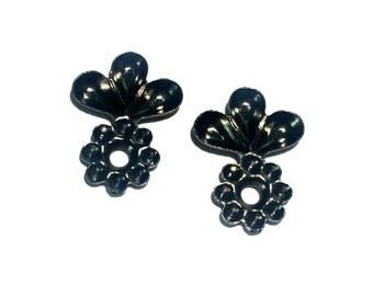 6 Flower Rhinestone Setting, Black Ox, 20x15 mm