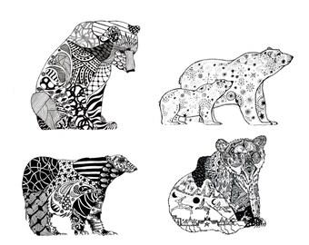 Bear Art Prints, Bear Artwork, 8 x 10 Art, Woodland Animals, Bear Drawing, Black Bear Decor, Mama Bear, Papa Bear, Pen and Ink Art, Ink Art