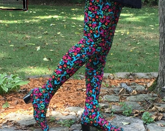 1960s multicolored floral Pan-T boots - size 9 - 1960s over the knee boots - 1960s thigh high - 1960s mod boots - 60s go go boots