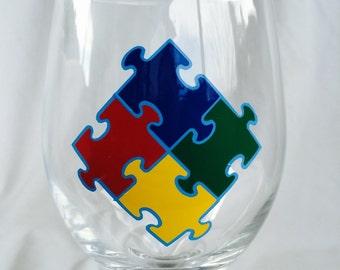 Autism Puzzle Themed 20 oz Wine Glass