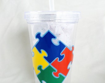 Autism Awareness 17.5 oz Acrylic Double Wall Tumbler BPA Free