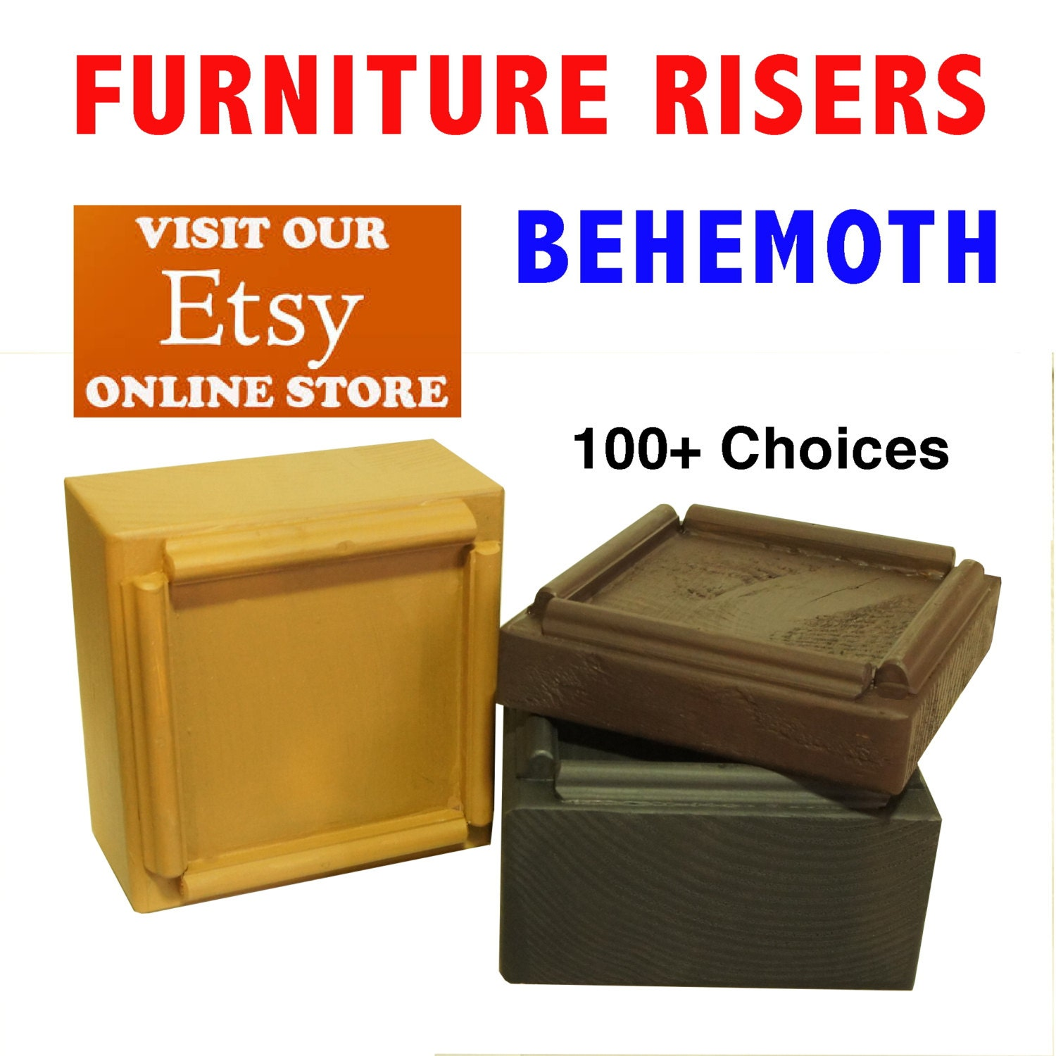 Behemoth furniture risers and bed lifters by for Furniture risers