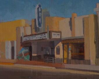 Art Theater - Theater - Long Beach - Art Deco - Cinema - Film - Historic - Plein Air - Landscape - Original Oil Painting - Urban - Village