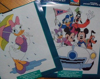 Disney Counted Cross Stitch Kits,Set of 2,Mickey and Gang,Daisy Duck - FREE SHIPPING