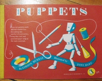 Vintage Puppets Book by Gordon Murray,Puppet Making,Puffin Book - FREE SHIPPING