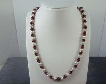 Sterling Silver Bead and Pearl Necklace N19